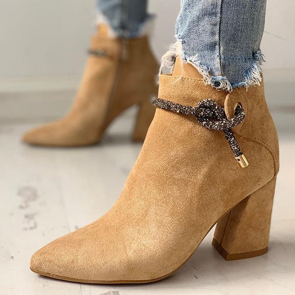 Sandalsdaily Shiny Shoelace Detail Pointed Toe Boots