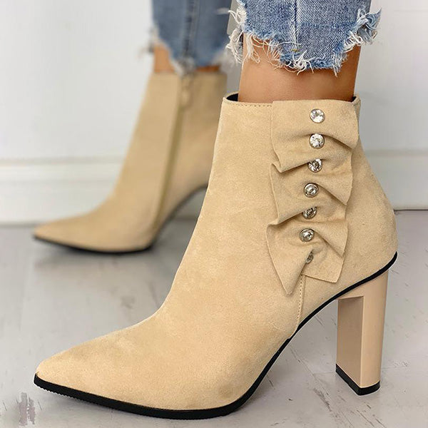 Sandalsdaily Suede Pointed Toe Chunky Heeled Boots