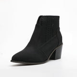 Sandalsdaily Zipper Ankle Thick Heeled Boots