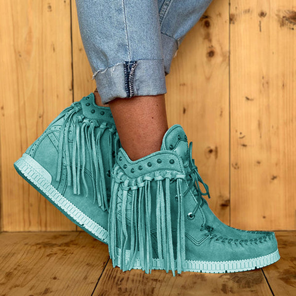Sandalsdaily Tassel Wedge Heel Faux Suede Spring/fall Boots