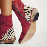 Sandalsdaily Women Ankle Suede Flat Heel Cowboy Boots