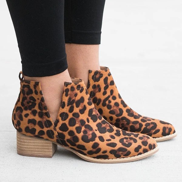 Sandalsdaily Women Closed Toe Low Heel Boots
