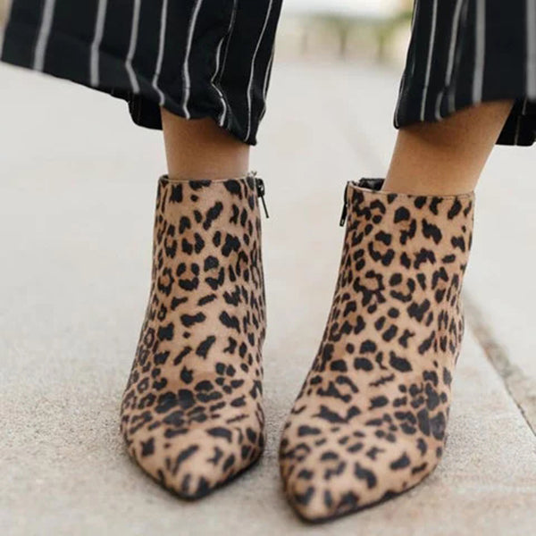 Sandalsdaily Leopard Closed Toe Chunky Heel Low Women Boots