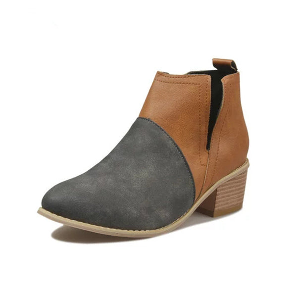 Sandalsdaily Chunky Heel Slip-On Ankle Booties Casual Boots