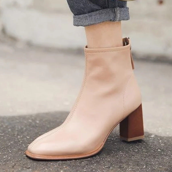 Sandalsdaily Stylish Genuine Leather Square Toe Chunky Heel Boots