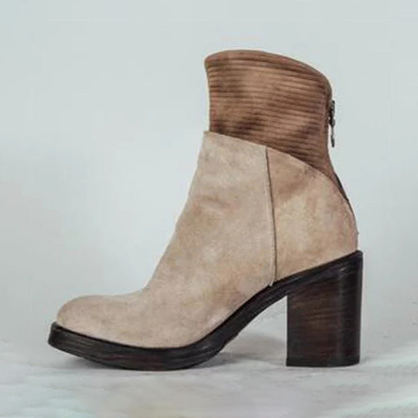 Sandalsdaily Woman Solid Block Chunky Heel Round Toe Ankle Boots