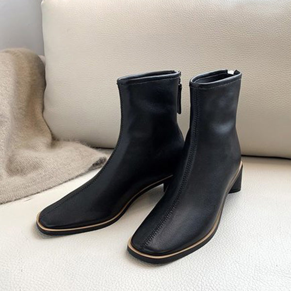 Sandalsdaily Stylish Genuine Leather Chunky Heel Boots