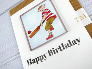 Hand drawn Greetings Card (Boy playing cricket)