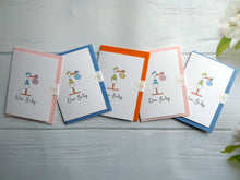 Load image into Gallery viewer, Hand drawn New Baby Greetings Card.