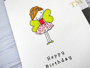 Hand drawn Greetings Card (Girl with green wings)