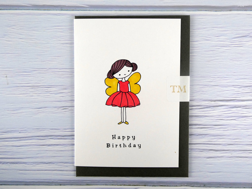 Hand drawn Greetings Card (Girl with yellow wings)