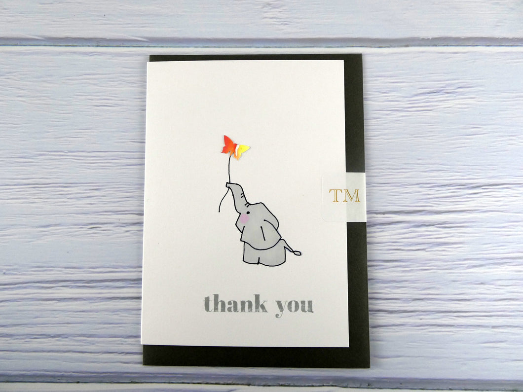 Hand drawn Greetings Card (Elephant with orange butterfly)