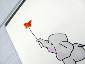 Hand drawn Greetings Card (Elephant with red butterfly)