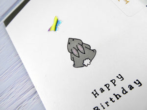 Hand drawn Greetings Card (Rabbit with yellow butterfly)