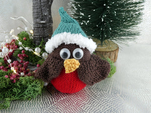 Knitted Christmas Robin decoration