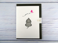 Load image into Gallery viewer, Hand drawn Greetings Card (Elephant with pink butterfly)