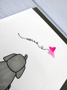 Hand drawn Greetings Card (Elephant with pink butterfly)