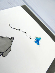 Hand drawn Greetings Card (Elephant with blue butterfly)