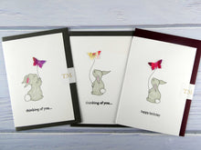 Load image into Gallery viewer, Hand drawn Greetings Card (Rabbit with purple butterfly)