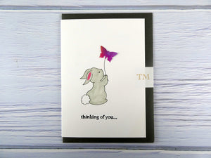 Hand drawn Greetings Card (Rabbit with purple butterfly)