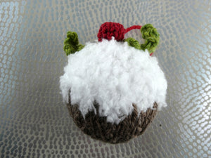 Knitted Christmas pudding tree decoration