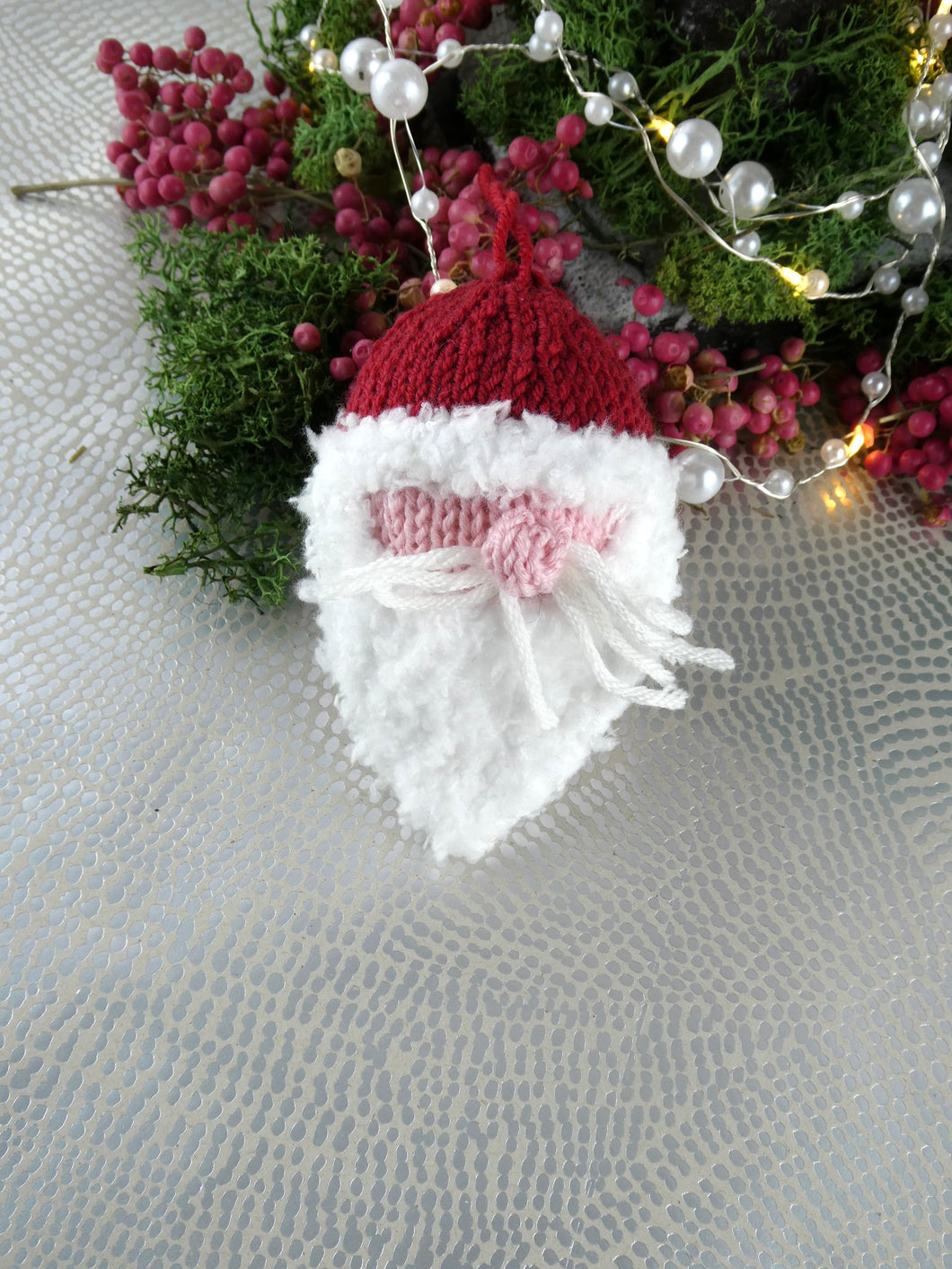 Cute knitted Christmas tree decoration