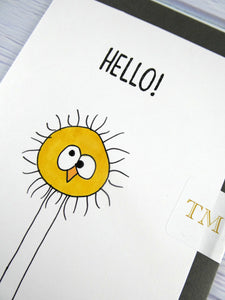 Hand drawn Greetings Card (Yellow Fuzzy hello)