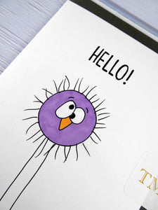 Hand drawn Greetings Card (Purple Fuzzy hello)