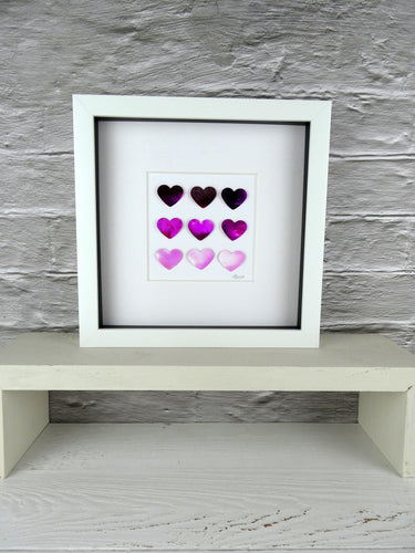 9 watercolour Pink Hearts