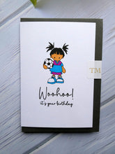 Load image into Gallery viewer, Hand drawn Birthday Card, Girl with Football