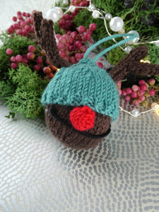 Knitted Reindeer Christmas tree decoration