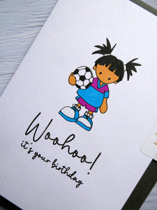 Hand drawn Birthday Card, Girl with Football