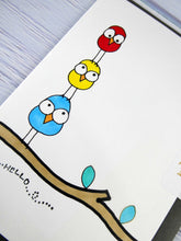 Load image into Gallery viewer, Hand drawn Greetings Card (Hello from 3 birds)
