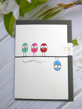 Load image into Gallery viewer, Hand drawn Greetings Card (Hello from 4 birds)