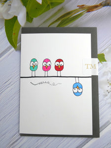 Hand drawn Greetings Card (Hello from 4 birds)