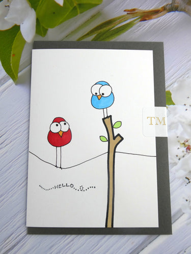 Hand drawn Greetings Card (Hello from 2 birds)