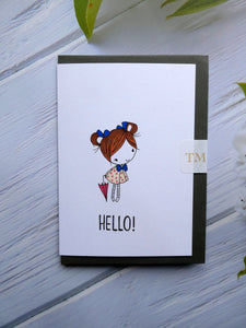 Hand drawn Greetings Card, Cute girl saying Hello