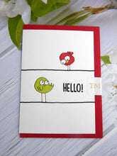 Load image into Gallery viewer, Hand drawn Greetings Card (Hello from 2 birds)