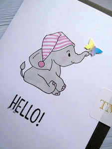 Hand drawn Greetings Card with an elephant and a butterfly saying Hello