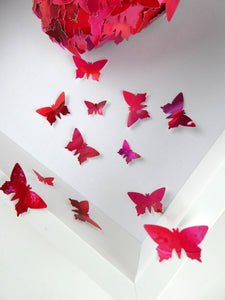 Watercolour Butterfly collage in Red