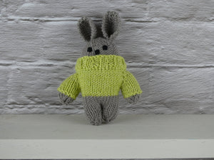 Small teddy in green jumper.