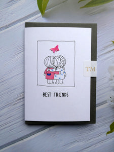 Hand drawn Greetings Card of 2 Best friends
