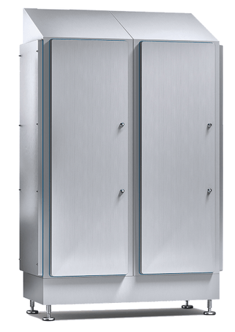 Hygienic Sloped Roof Cabinet - 79'' Modular, Double Door, Removable Side Walls, IP69K