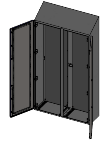Hygienic Compact Sloped Roof Cabinet - 71'' Modular, Double Door, Fully Enclosed, IP69K