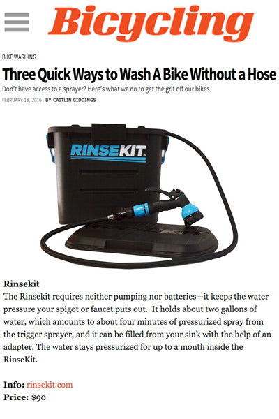 Bicycling Mag Features RinseKit