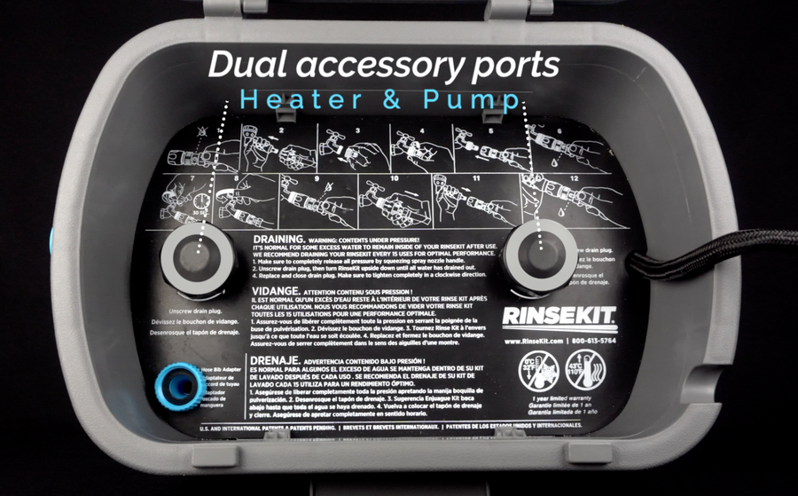 RinseKit® PLUS with Pressure Booster Pump (Sprays 5 minutes)