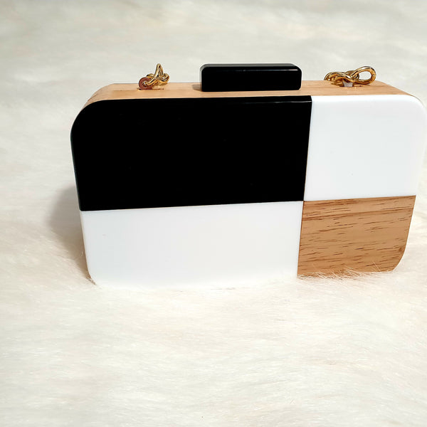 Colour Blocking Wooden Clutch Bag