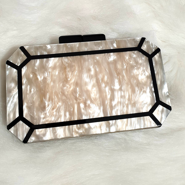 Pearl Effect Square Clutch Bag