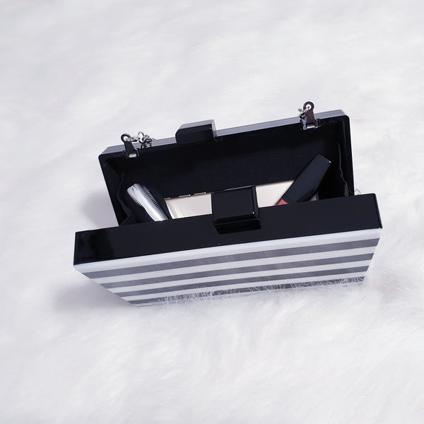 Black & White Stripes Clutch Bag