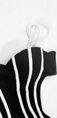 One Piece Front Striped Swimsuit